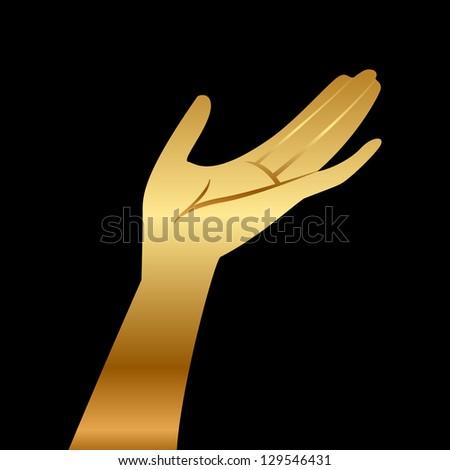 Vector illustration of gold hand - stock vector