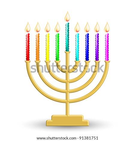 Vector illustration of gold Hanukkah lamp - stock vector