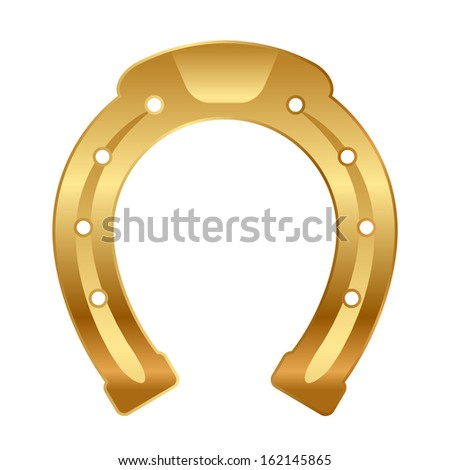 Vector illustration of gold horseshoe (good luck talisman)