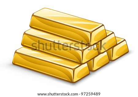 Vector illustration of gold ingots on white background. - stock vector