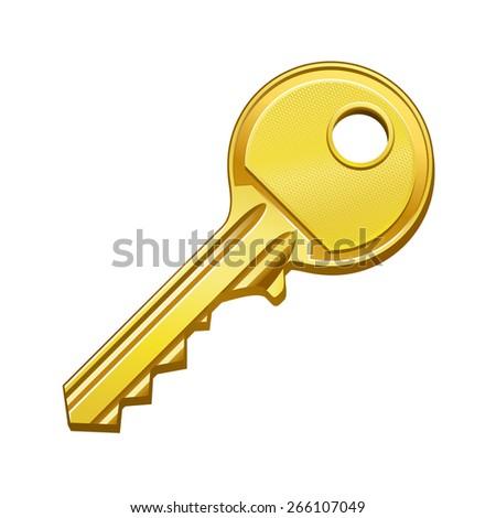 vector illustration of gold key - stock vector