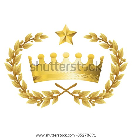 Vector Illustration of Gold King Crown with Quality Laurel Wreath and Champion Star. Representations include: Power, Success, Victory, Quality, First Place, 1st, Best, Winner, MVP, honor. Isolated. - stock vector