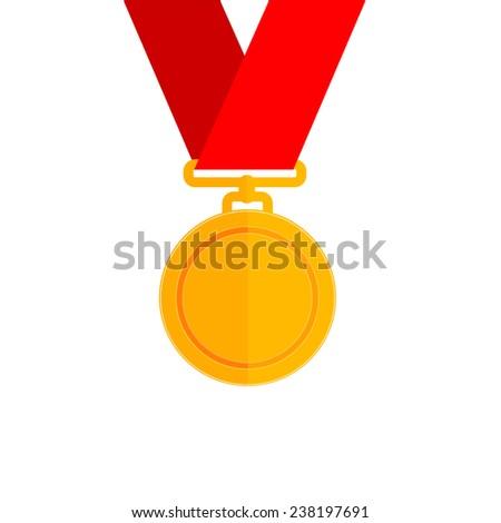 Vector illustration of gold medal - stock vector