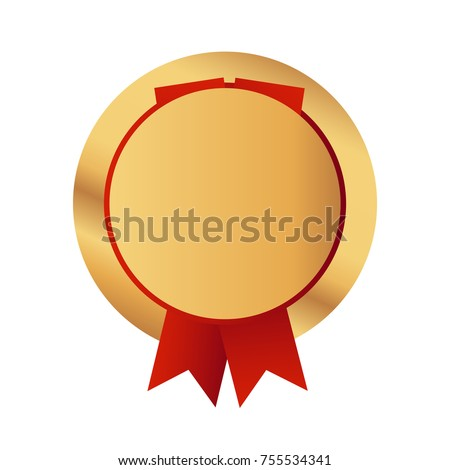 Vector illustration of gold medal isolated on the white background