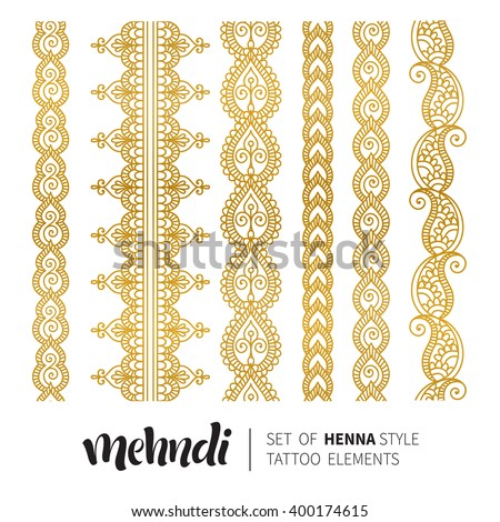 Vector illustration of gold mehndi pattern, set of seamless borders. Traditional indian style, ornamental floral elements for henna tattoo, golden stickers, flash temporary tattoo, mehndi, yoga design - stock vector