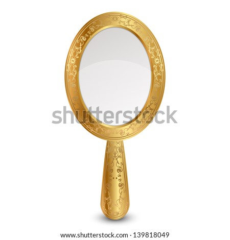 Vector illustration of gold mirror - stock vector