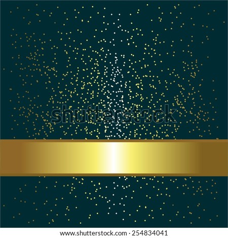 Vector illustration of Gold ribbon and sparkles on a blue. - stock vector