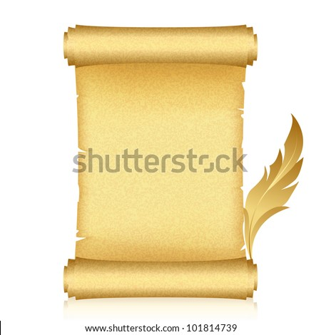Vector illustration of gold scroll and feather - stock vector