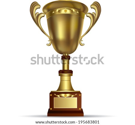 Vector illustration of gold shiny trophy