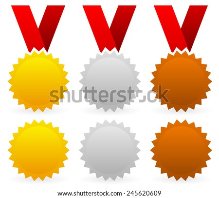 Vector illustration of gold, silver and bronze badges with red ribbons  - stock vector