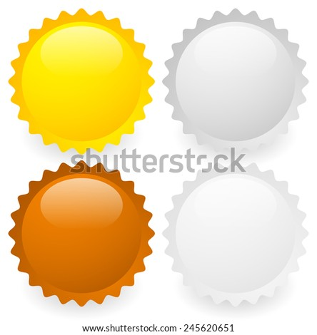 Vector illustration of gold, silver, bronze and platinum badges or medals. Eps 10 with transparent shadows. - stock vector