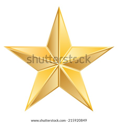 Vector illustration of Gold Star - stock vector