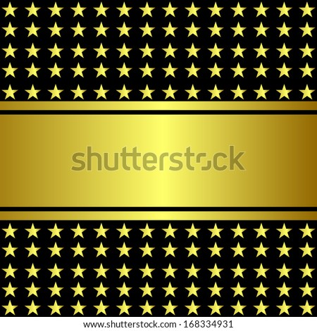 Vector illustration of gold star on a black background - stock vector