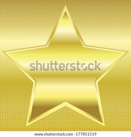 Vector illustration of Gold star on a gold background  - stock vector