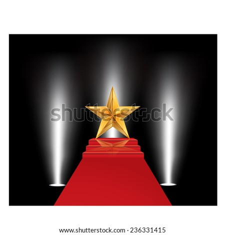 Vector illustration of gold star on a red carpet - stock vector