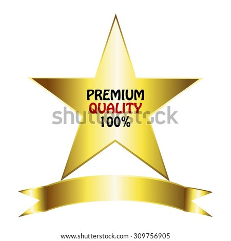 Vector illustration of Gold star on a white background. Premium quality 100%. - stock vector