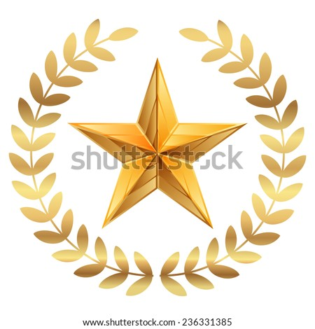 Vector illustration of gold Star with laurels - stock vector