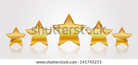 Vector illustration of 5 gold stars - stock vector