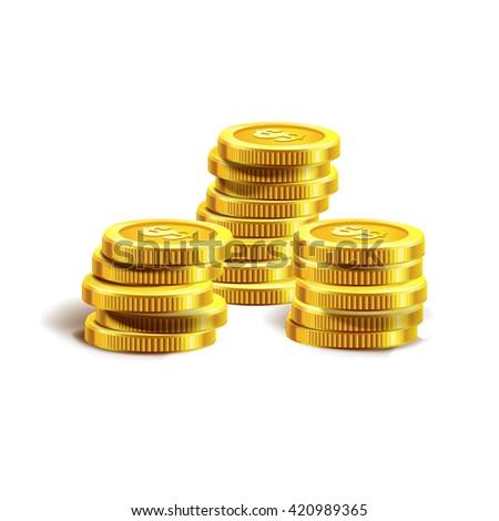 Vector Illustration of golden coins or money. Isolated on white.  Golden coins vector. Money. Profit. Dollar.  - stock vector