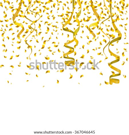 Vector Illustration of Golden Confetti decoration colorful for Design, Website, Background, Banner. Holiday party Element Template. Gold Festival object isolated