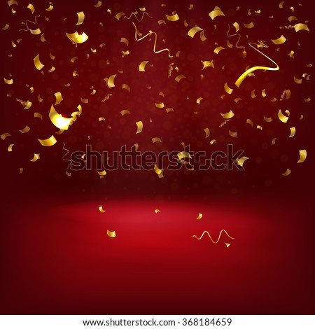 Vector Illustration of Golden Confetti decoration colorful for Design, Website, Background, Banner. Holiday party Element Template. Gold Festival object isolated - stock vector