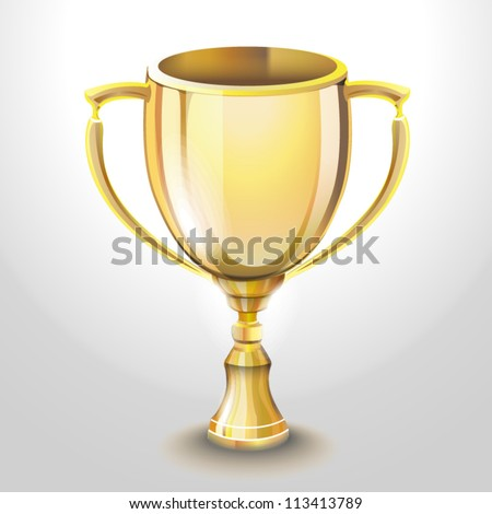 vector illustration of golden cup - stock vector