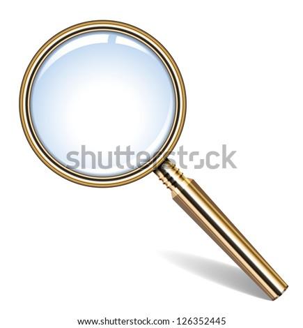 Vector illustration of golden magnifying glass - stock vector