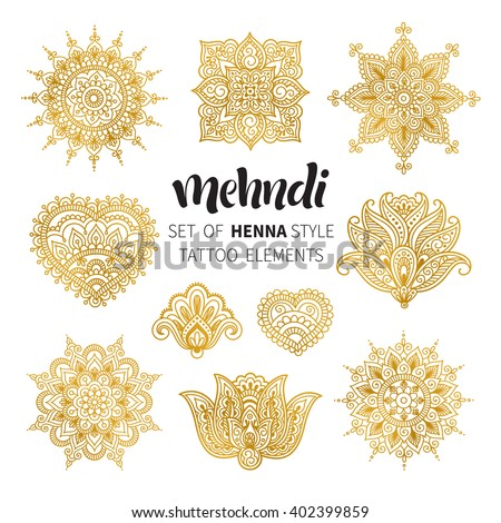Vector illustration of golden mehndi pattern. Traditional indian style, ornamental floral elements for henna tattoo, golden stickers, flash temporary tattoo, mehndi and yoga design, cards and prints - stock vector