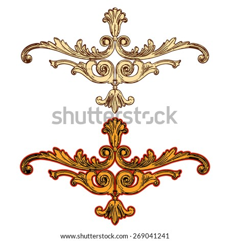 vector illustration of golden ornaments on a white background - stock vector