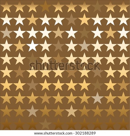 Vector illustration of Golden shining stars on a brown background.