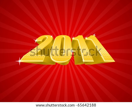 Vector illustration of golden 2011 year on red background - stock vector