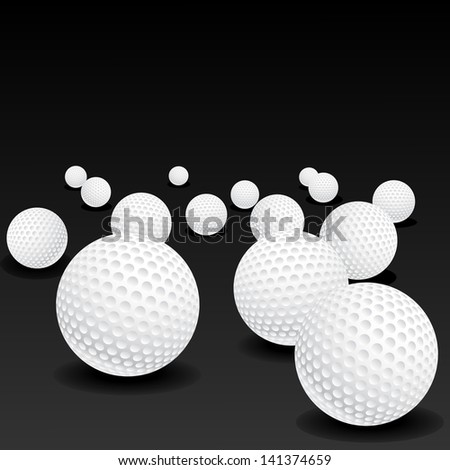 Vector illustration of golf balls on black background - stock vector