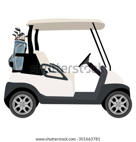 Vector illustration of golf cart with blue golf clubs bag. Sport equipment. Golf club - stock vector