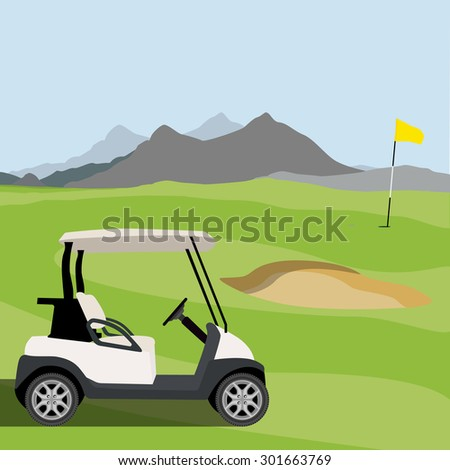 Vector illustration of golf field, golf flag and golf cart. Mountain landscape or background. Golf course. - stock vector
