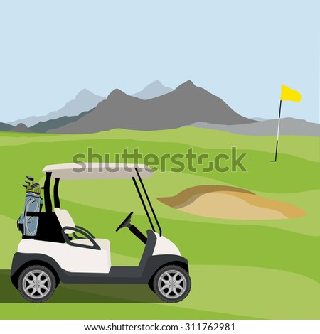 Vector illustration of golf field, golf flag and golf cart with blue golf clubs bag. Mountain landscape or background. Golf course. - stock vector