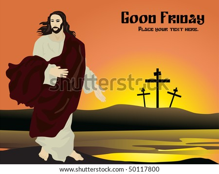 vector illustration of good friday card with sample text - stock vector