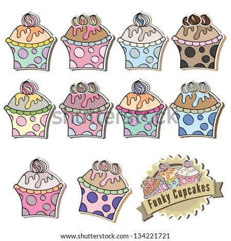 Vector illustration of gorgeous cupcakes with logo design - stock vector