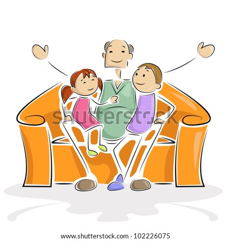 vector illustration of grandpa sitting with grand child in sofa - stock vector