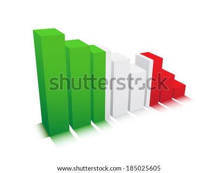 Vector illustration of graph with Italian flag.