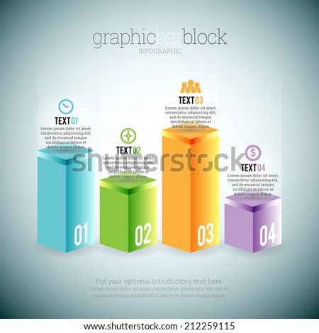 Vector illustration of graphic bar block infographic elements. - stock vector