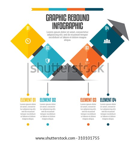 Vector illustration of graphic rebound infographic design element. - stock vector
