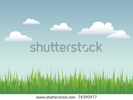 Vector illustration of grass against a blue sky with a few fluffy, white clouds.   Use of layers for easy editing, so you can also use just the grass or just the sky as a design element. - stock vector