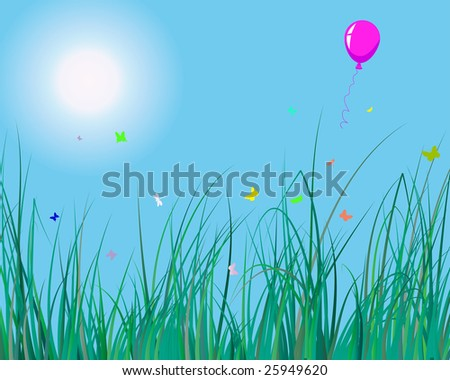 Vector illustration of grass background with balloon for design usage - stock vector