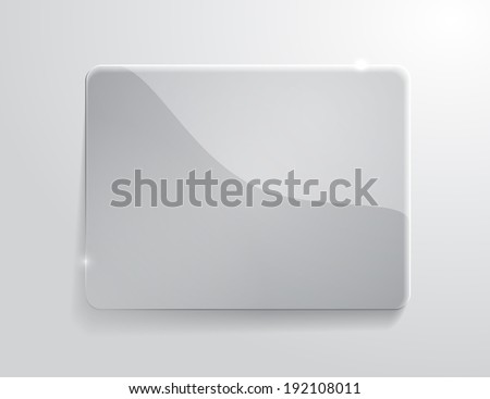 Vector illustration of gray glossy glass banner - stock vector