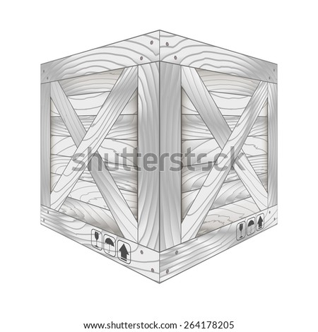 Vector illustration of gray wooden box on white,Vector illustration - stock vector
