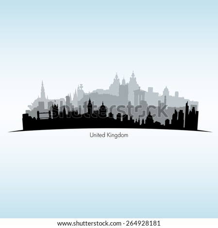 Vector illustration of Great Britain. Black silhouette of English cites skylines - stock vector