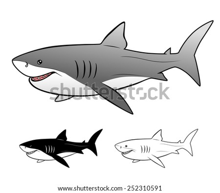 Vector illustration of Great white shark isolated. - stock vector