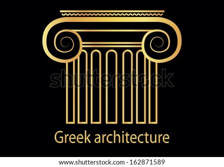 vector illustration of greek golden column symbol - stock vector