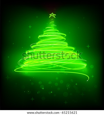 Vector illustration of green Abstract Christmas tree on the black background. - stock vector