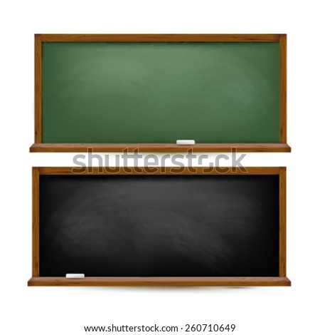 Vector illustration of green and black blackboard and chalk board on white background.  - stock vector